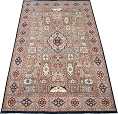 Bakhtiar rugs are normally associated to the Bakhtiaris - a nomadic group living in the western mountains of Iran. Bakhtiar rugs are one of the most ancient and well-known Persian rugs and are famous for their garden design with flowers and compartment design.  http://www.alrug.com/4638
