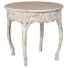 Round Shabby Chic Accent Table ($995) ❤ liked on Polyvore featuring home, furniture, tables, accent tables, side tables, decor, fillers, hand carved furniture and top table