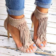 Shop Trendy Tassel Stiletto High Heels Sandals on sale at Tidestore with trendy design and good price. Come and find more fashion High Heel Sandals here. Crazy Shoes, Me Too Shoes, Mode Shoes, Mode Style, Beautiful Shoes, Gorgeous Heels, Pretty Shoes, Beautiful Outfits, Boutiques