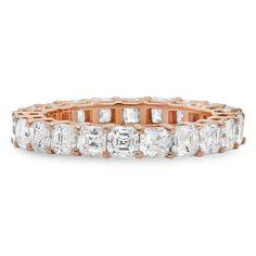 3.19CT Asscher Diamond 18K Rose Gold Eternity Ring Anniversary Band Certified VS #SageDesignsLA #Eternity