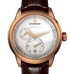18 karaat roségouden Eterna automaat heren horloge Advantic model Limited Edition 50m waterdicht met bruine krokodillen lederen band en datum. Prijs € 22300,-