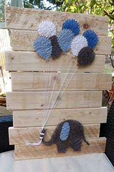 Elephant with Balloons for a Boy String Art by HeartStringsBySez on Etsy