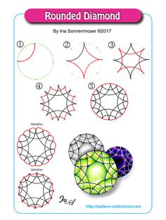 Rounded Diamond Tangle, Zentangle Pattern by Ina Sonnenmoser Zentangle Drawings, Doodles Zentangles, Doodle Drawings, Doodle Art, Zen Doodle Patterns, Doodle Designs, Zentangle Patterns, Doodle Borders, Gem Drawing