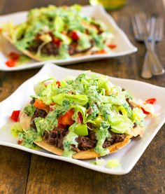 Healthy Black Bean Tostadas with Cilantro Sauce by pinchofyum