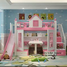 tempat tidur anak tingkat minimalis model perosotan merupakan ranjang susun anak yang bisa juga sebagai tempat bermain anak anda dan juga bisa sebagai tempat belajar anak anda sekaligus
