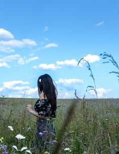 """woman walking on green grass under blue sky """"When the sun has set, no candle can replace it"""" Nature Photos, My Photos, Gray Tree, White Building, Small Plants, Green Grass, Foto E Video, Flower Power, Clouds"""