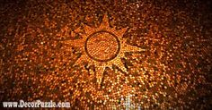 penny floor tile designs from copper pennies and coins