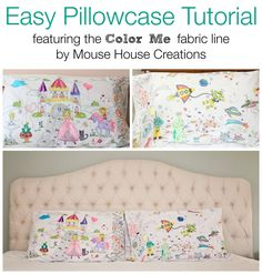 color me pillowcase cover - adorable and so fun that the kids can color them!