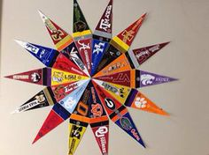 A cute way to display my small college pennants.