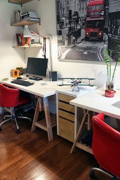 Check out my garage conversion featured on Houzz . source I know garage conversions are somewhat controversial and I explained in my . Masculine Office, Man Cave Office, Garage Conversions, Garage Makeover, Garage Organization, Houzz, Office Desk, Conversation, Furniture