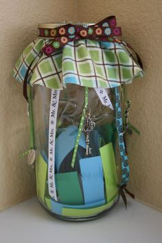 Date night jar.  Great idea for a gift to a newly married couple or to have at home for yourself and your partner.