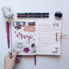 """207 Me gusta, 4 comentarios - Ariadna Torres  (@ariadnatorres14) en Instagram: """"Ya está aquí Mayo y en mi Bullet Journal llega llenito de scrap ☕ He decidido asignarle a este…"""""""