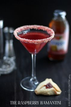 The Raspberry Hamantini - a riff on raspberry hamantaschen for the holiday of Purim. Purim Recipe, Kosher Recipes, Top Recipes, Jewish Recipes, Cookie Crumbs, Alcohol Recipes, Appetizers For Party, Summer Drinks, Holiday Recipes