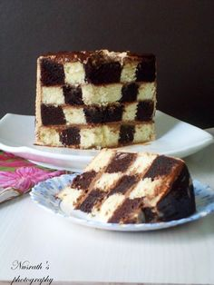 Checker board cake ,chocolate ganache, whipped coffee cream frosting