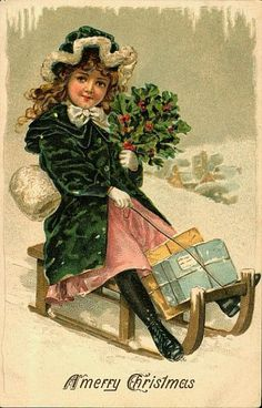 Young Victorian Girl Sledding Victorian Christmas Card