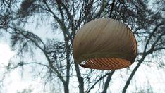 """Pantalla de luz moderna, lámpara colgante, """"Viento"""" chapa de madera de bambú"""
