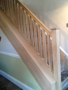 Oak fluted stair spindles and newel post