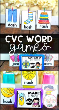 Teach CVC Words to your students with these fun centers and games. Students will love playing all 16 games throughout the year to practice CVC fluency. Interactive Writing Notebook, Interactive Notebooks, Word Work Games, Teaching Main Idea, Kindergarten Activities, Classroom Activities, Phonics Games, Cvc Words, Science Lessons