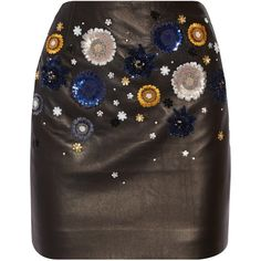 Topshop Unique Linard embellished leather mini skirt ($875) ❤ liked on Polyvore featuring skirts, mini skirts, bottoms, black, leather miniskirt, leather mini skirt, short floral skirt, short mini skirts and sequin skirt