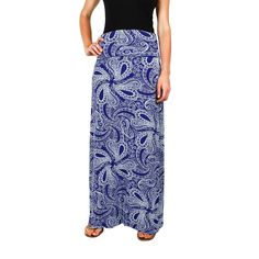 Maxi Skirt in Blue Paisley by Hiho #$50-to-$100