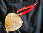 Gold or Silver Aspen Ornament with Custom Ribbon
