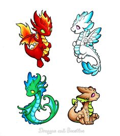 Elemental Dragons by DragonsAndBeasties.deviantart.com on @DeviantArt