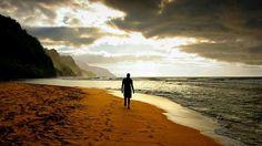 Sunset. Beachside stroll. Na'poli Coastline. Kauai, Hawaii.