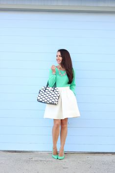 Green and White // Click on the following link to see all of the photos and outfit details: http://www.stylishpetite.com/2014/05/green-and-white.html