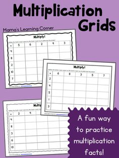 Multiplication Grids: Free Worksheets to practice multiplication facts Math Tutor, Teaching Math, Math Education, Teaching Ideas, Multiplication Grid, Multiplication Strategies, Math Fractions, Maths, Math Intervention
