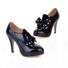 Casual High Heel Bow Polka Dots Design Womens Boots