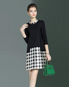 Black Stand Collar Polka Dot Mini Dress I found this beautiful item on VIPme.com.Check it out!