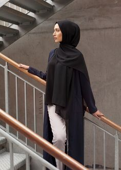 INAYAH | Simplicity, style and sophistication - Navy #Maxi #Coat with #Pockets + Black Crepe Top + Grey Straight Leg #Trousers + Black Soft Crepe #Hijab - www.inayah.co