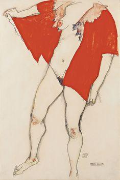 EGON SCHIELE - Red Blouse, 1913 - Leopold Museum