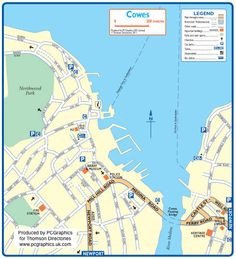 Map of Cowes created in 2011 for Thomson Directories. One of approximately 350 UK town and city maps produced royalty free. Find out more...  http://www.pcgraphics.uk.com   or read our blog...    http://www.pcgraphics.uk.com/blog/