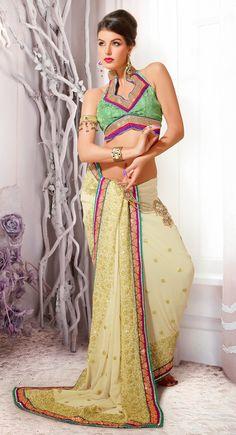 Modish Buttercream Faux Georgette Embroidered #Saree
