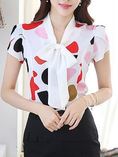 Candy Colors Printed Lady Summer Blouses Plus Size Short Sleeve Tops 2016 Girls Casual White Shirts Plus Size Short Sleeve Tops, Plus Size Blouses, Pink Outfits, Fashion Outfits, Cheap Fashion, Womens Fashion, Essentiels Mode, White Shirts Women, White Blouses