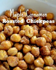 These Maple Cinnamon Roasted Chickpeas as a wonderfully crunchy healthy snack!