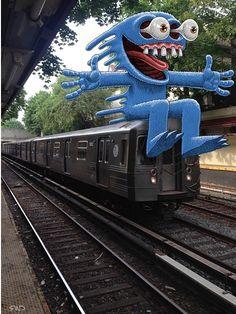 Ben Rubins subway Doodles Transform New York City Into A Fantastically Weird Place New York Subway, Nyc Subway, Subway Art, Street Art News, 3d Street Art, Illustration Photo, Photography Illustration, Lowbrow Art, Pop Surrealism
