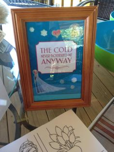 The framed movie quotes were a hit, the quotes were from a PIN and I added my own special touch with Frozen stickers and Olivia got to keep them for her room after...We also had FROZEN coloring sheets for the guests to take home after the party.