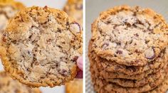 Cowboy Cookies are chewy oatmeal brown sugar cookies with chocolate chips, coconut and pecans that are done in less than 30 minutes! We love Chocolate Chip Cookie recipes including my favorite one,… Brown Sugar Cookies, Caramel Chocolate Chip Cookies, Oat Cookies, Chocolate Chips, Oat Cookie Recipe, Cookie Recipes, Coconut Recipes, Dairy Free Recipes, Peanut Butter Banana Bread