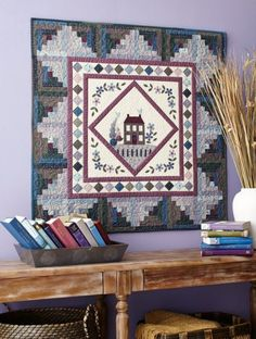 Little House On The Square Quilt Pattern Pieced/Applique LA in Crafts, Sewing, Quilting, Quilt Patterns American Patchwork And Quilting, Log Cabin Quilts, Miniature Quilts, Panel Quilts, Mini Quilts, Applique Quilts, Square Quilt, Quilt Making, Quilting Designs