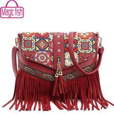 b35d3e8c4185 Magic Fish new women messenger bags tassel bag National shoulder bag  leather handbag bolsas women crossbody bags purse LM3931mf