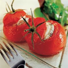 Tomates farcies au sainte-maure et lardons   - une recette Terroir  - Cuisine