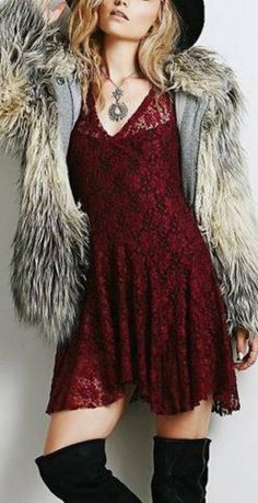 Love the Color! Love the Lace! Love the Over the Knee Boots! Burgundy Wine Lace Skater Style Midi  Dress #Burgundy #Wine #Red #Lace #Skater #Dress #Holiday #Fashion