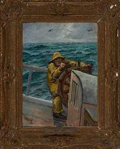 Sjømann ved roret Olje på plate, 33x24 cm Signert nede til venstre: C. Krohg