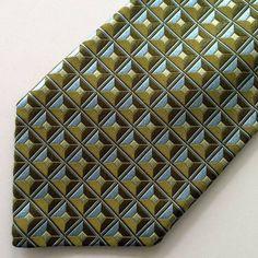 Ike Behar New York Mens Tie - Geometric Square Print - Baby Blue Olive Green #IkeBehar #NeckTie