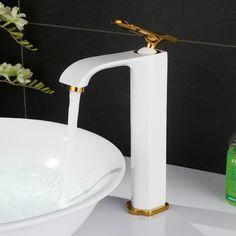 127.82$  Watch now - http://ali0eb.worldwells.pw/go.php?t=32682532420 - 2017 New Arrrival Wholesale Promotion Luxurious White/ Black / Golden / Chrome Bathroom Vessel Sink Faucet Taps