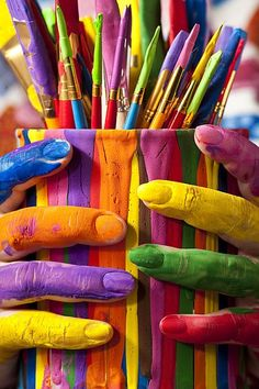Colourful hands and paintbrushes. For similar pins please follow me at - https://www.pinterest.com/annelouise1959/colour-outside-the-lines/