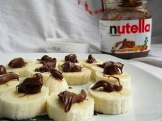 Banana-Nutella Sandwich   Could make these then freeze them and put them in school lunches