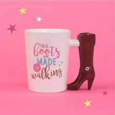 THESE BOOTS ARE MADE FOR WALKING shaped hand mug for all the #fashion #victims